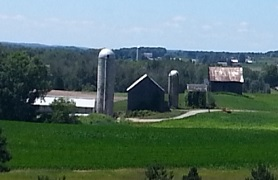 Farm with fields and silos