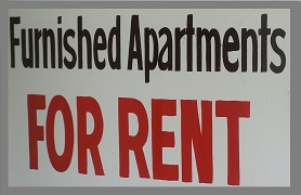 black white and red furnished apartments for rent sign